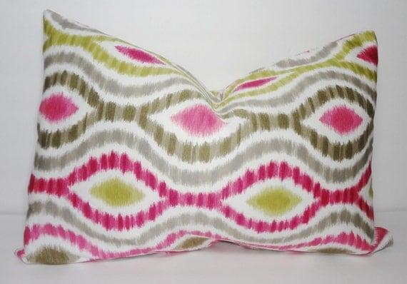 Throw Pillows Rules : Raspberry Ikat Lumbar Pillow Cover Decorative Pillow Ikat