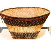 """Large HARD TO FIND African 14"""" Diameter 8"""" Height Vintage Handmade Grain Leather Reed Cowrie Basket by Dogon tribe of Mali 1960's"""