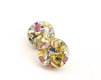 Small Round Lush Glitter Studs - 15mm