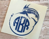 Fish Hook Monogrammed Decal . . . Choice of Fish