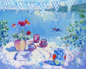 """Seaside Art Print """"Tea By the Sea"""" from Original Still Life Painting"""