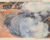 Crater of Mud Volcano, Yellowstone, National Park - Linen Postcard - Unused (AAA)