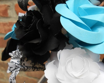 Turquoise, Black, & White Paper Flower Bouquet.  Or CHOOSE YOUR COLORS. Wedding, Anniversary, Centerpiece.