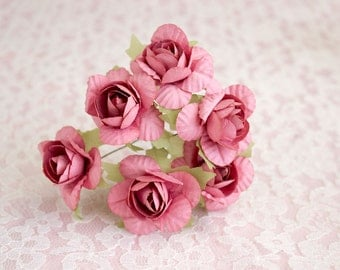 Bouquet Dusty Rose Paper Flowers / Vintage Roses With Wire Stems / Set of Six Blossoms / Gift Wrapping / Wedding / More Colors Available
