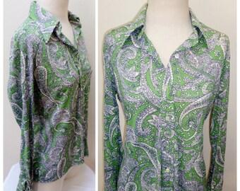 Vintage 1960s Mod Green & Blue Flowered Shirt-L