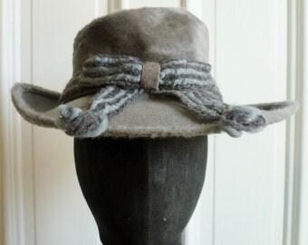 Vintage 1950s Designer Grey & Blue Floppy Hat