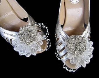 Set of 2 Bridal Shoe Clips Light Ivory - Whitney -  Rhinestones