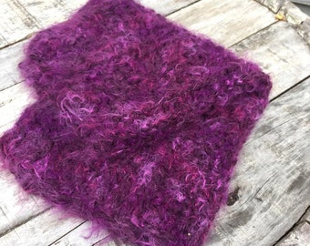 thick knitted mohair miniblanket,burgundy mohair