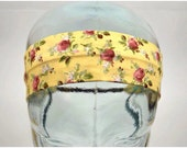 SALE Shabby Chic Cotton Yellow Floral Print Headband. Classic Blonde Factory. 2 Inch Width with Wooden Bead Accents.