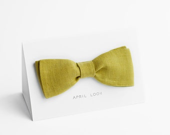 Olive green bow tie - double sided