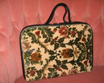 VINTAGE HUGE TAPESTRY Purse, Brief Case Style, 1950's, '60's Handbag