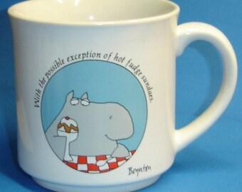 Sandra Boynton Hippo/Hot Fudge Sundae Coffee Cup Mug - USED Ceramic Mug