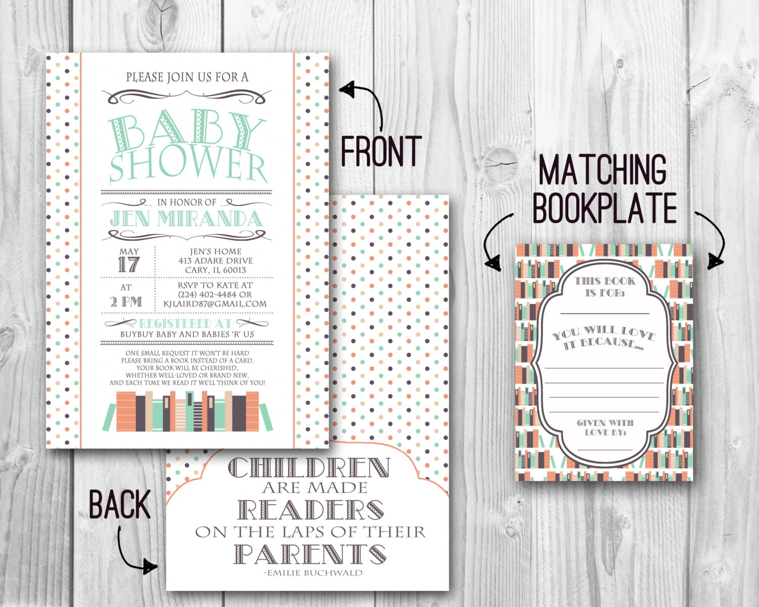 book themed baby shower invitation with by ohhappinesscards