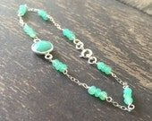 Chrysoprase Bracelet - Green Gemstone Jewellery - Sterling Silver Chain Jewelry - Luxe