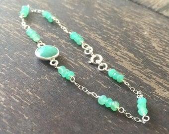Chrysoprase Bracelet - Green Gemstone Jewellery - Sterling Silver Chain Jewelry - Luxe