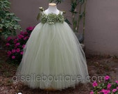 Flower Girl TuTu Dress.  Sage Green  TuTu Dress. Wedding. Birthday. Available in any size.