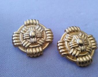 Sophisticated Gold Vintage Clip back Earrings