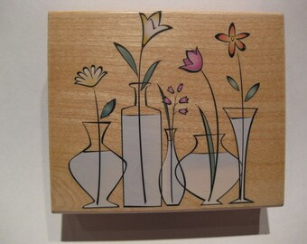 Hero Arts Wood Mounted Rubber Stamp - Glass Vases
