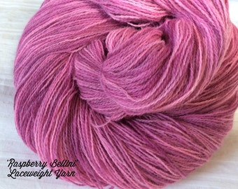 SALE Hand dyed Laceweight Knitting or Crochet yarn. 'Raspberry Bellini' Colorway. Superfine Laceweight yarn, Shawls, Fine Scarves