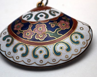 Ornate Painted, Floral, Colorful Shell Pendant