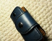 100% hand stitched handmade deep midnight blue cowhide leather key purse/ holder/ case