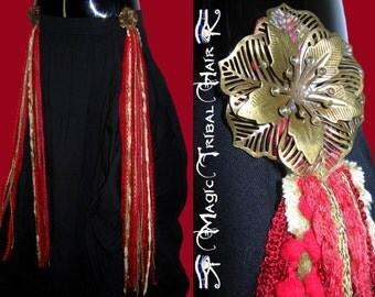 BELLY DANCE TASSELS yarn falls Red Passion Gold hair fall Steampunk Gothic Tribal Fusion hip & hair jewelry Hip scarf belt Costume accessory