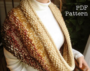 Chunky Color Change Cowl Scarf Knitting Pattern PDF Digital Scarf Easy Project Oversize