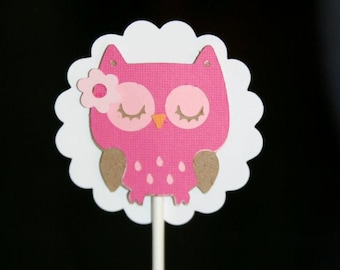 Owl Cupcake toppers, Baby Girl Cupcake Toppers, Baby Shower Cupcake Toppers, Baby Girl Shower Cupcake Toppers