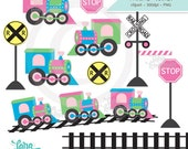 Train Clipart, Train Tracks Clipart, Railroad Clipart, Trains Clipart for Girls