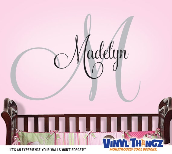 Teen room decor personalized monogram kids by vinylthingzwalls for Personalized kids room decor
