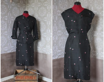 Vintage 1940's 50's Black Dupioni Silk Dress and Jacket Set Medium