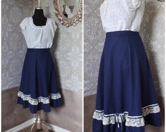 Vintage 1970's Blue Cotton Skirt with Ruffled Hem Medium
