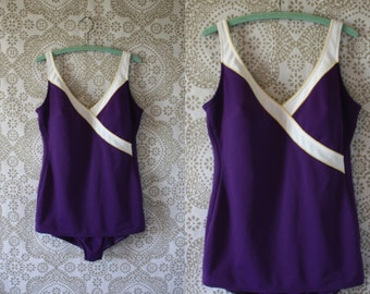 Vintage 1960's 70's Royal Purple and White Swimsuit XL