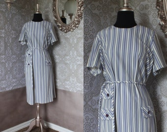 Vintage 1960's 70's Blue and White Striped Dress M/L