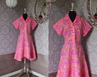 Vintage 1960's 70's Bright Pink Floral Day Dress M/L