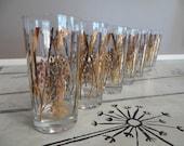 Vintage Libbey Drinking Glasses Bamboo Shoots Gold Glasses Bird Oriental Glassware Mid Century Barware Vintage Barware