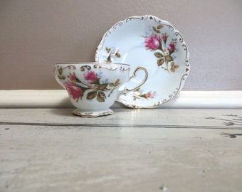 Hand Painted Demitasse Cup Floral Tea Cup Vintage Teacup Porcelain Cup and Saucer Pink Rose
