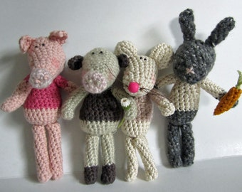 SET of 4 Crochet Patterns for Silly Animals Series I
