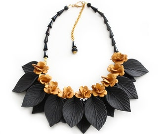 Gold Flower and Black Leaf Necklace, Statement Jewelry, Polymer Clay Jewelry, Handmade, Chunky Necklace