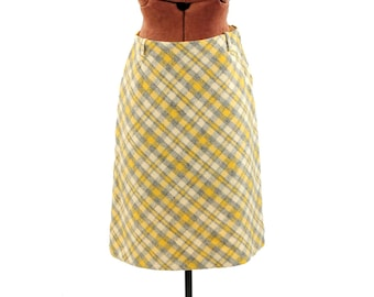 Vintage 1970's Yellow Gray Palid Wool Knit A-lined High Waist Mini Retro Preppy Skirt S