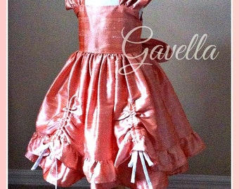 Girls sweet & simple silk dupioni dress large bow. Wedding Dress. Flower Girl Dress. Pageant. Beach Portrait. Free matching bow.