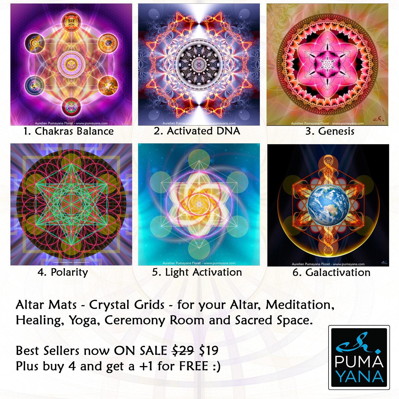 Meditation Altars For Sale: Altar Mat Crystal Grids Charger Activation Mat For Your