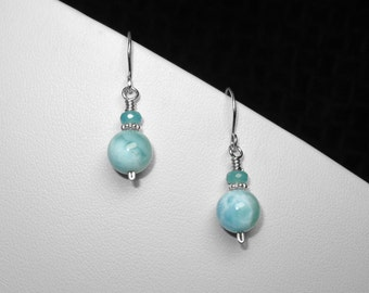 Larimar and Angelite Earrings in Silver