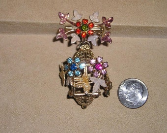Vintage Rhinestone Dangle Brooch Pin With Enamel 1960's Jewelry C20