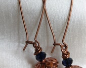Copper and Amethyst Crystal Kidney Wire Earrings