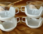 Mid Century Retro Glass Mugs / Cups with White Plastic Holders Set 4