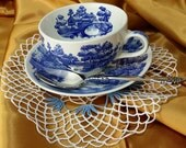 Vintage Nasco handpainted Lakeview Teacup, Saucer, AND a teaspoon and doily tea party set, mix & match - shabby chic cottage