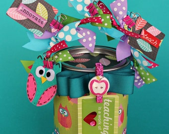 Personalized Teacher Gift, Container, Gift Packaging, Owl Altered Paint Can, Whoo's the best Teacher