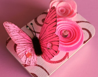 Butterfly Altered Gift Card Holder, Keepsake Mini Gift Tin/ Blush Pink Butterfly