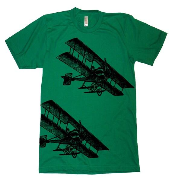 SALE - Vintage Fighter Airplane Jet T Shirt Pilots Aviator Aviation Airplane Aeroplane Airforce Pilot Humor T-Shirt Mens Husband Dad Tee - L